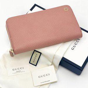 NIB GUCCI Interlocking GG Soft Pink Leather Wallet